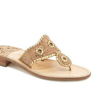 Jack Rogers Napa Valley Cork and Gold Sandals